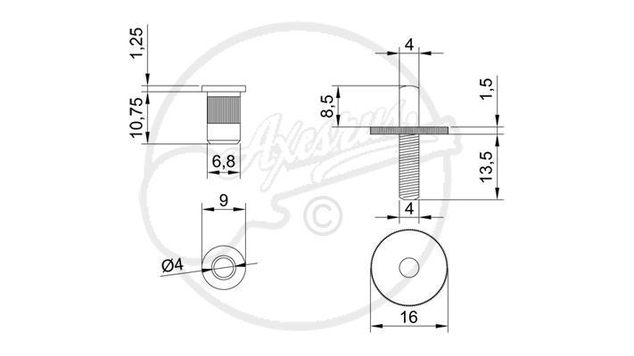 2 x nashville bridge thumb wheels and studs  4mmmetric