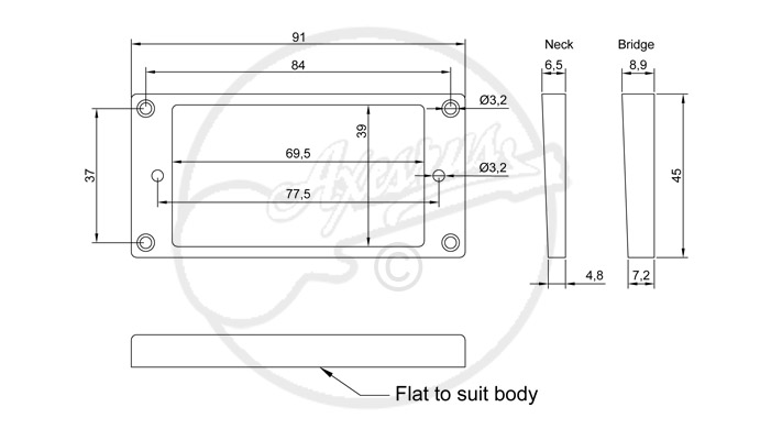 Flat Top, Slanted Humbucker Ring Spec