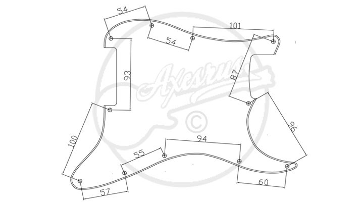 Modern Double Fat S Type Style Pickguard - Hole Specification
